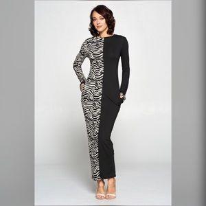 Zebra Print Splice Long Sleeve Maxi Dress